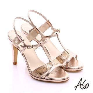 【A.S.O】璀璨注目 金箔真皮T字帶高跟涼鞋(金)