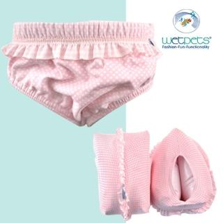 【德國 WetPets】兒童泳裝組/女童泳裝/附臂圈/寶寶-Mia Baby粉點寶貝(74-86cm)