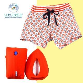 【德國 WetPets】兒童泳裝組/男童泳褲/附臂圈/寶寶-Sailor Baby藍格橘(86cm)