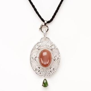 【寶石方塊】軟玉溫香天然紅月光石項鍊-925純銀飾