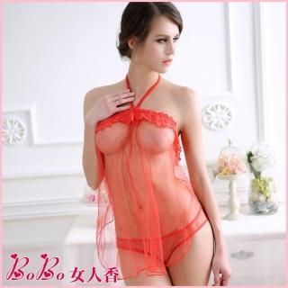【BoBo女人香】性感透明蕾絲邊薄紗小肚兜情趣內衣C391003(惹火紅)