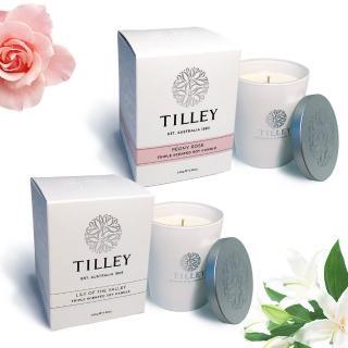 【Tilley百年特莉】幸福玫瑰大豆蠟燭禮盒2件組(幸福百合+牡丹玫瑰)