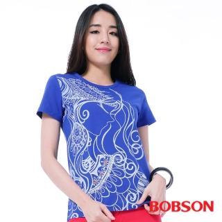 【BOBSON】女款印圖T恤(紫26142-54)