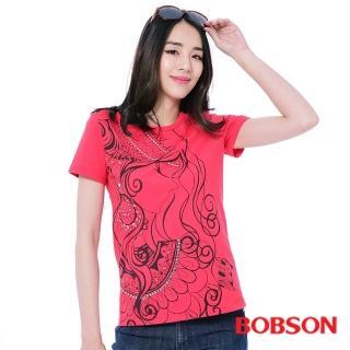 【BOBSON】女款印圖T恤(紅26142-13)