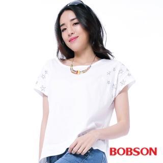 【BOBSON】女款星星刺繡上衣(白25151-80)