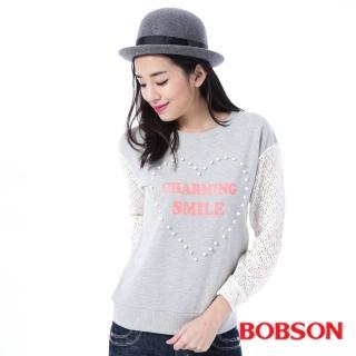 【BOBSON】女款搭配蕾絲袖上衣(灰35123-82)