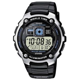 【CASIO】數位迷你世界地圖潛水運動腕錶(AE-2000W-1A)