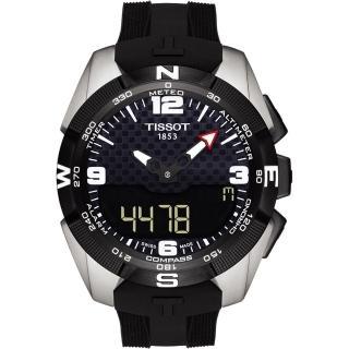 【TISSOT】T-TOUCH 鈦金屬太陽能觸控腕錶 NBA 特別版腕錶-黑/45mm(T0914204720701)