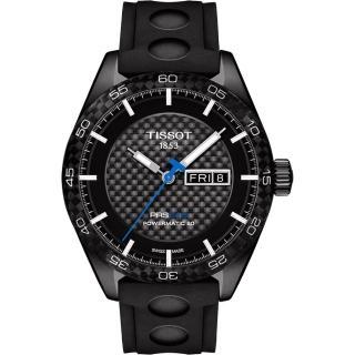 【TISSOT】PRS516 系列時尚機械腕錶-黑x橡膠錶帶/42mm(T1004303720100)