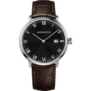 【AEROWATCH】Heritage系列尊爵時尚石英腕錶-黑x咖啡/40mm(A21976 AA02)