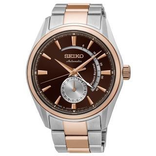 【SEIKO 精工】Presage 經典簡約都會機械鋼帶腕錶-咖啡x玫瑰金(4R57-00A0P/SSA308J1)