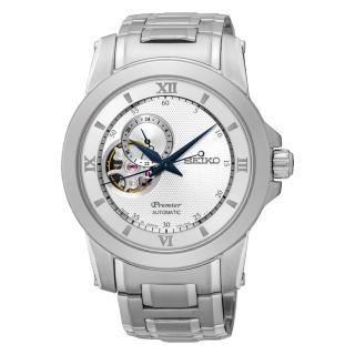 【SEIKO 精工】Premier 開芯系列羅馬時標機械腕錶(41mm/4R39-00P0S)