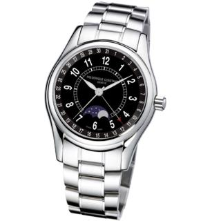 【CONSTANT 康斯登】月相自動機械腕錶/黑色錶帶(FC-330B6B6B)