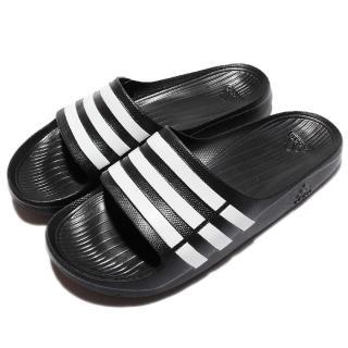 【adidas】拖鞋 愛迪達 Duramo Slide 防水 運動休閒 情侶鞋 黑白 男鞋女鞋(G15890)