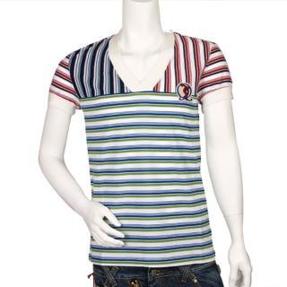 【MCQUEEN】紅 X 藍 X 綠條紋衫(402583M195)