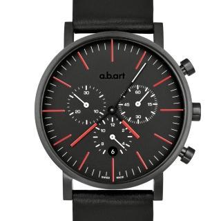 【a.b.art】OC 包浩斯極簡之終極車隊三眼計時碼錶-黑紅/40.5mm(abart-OC150)