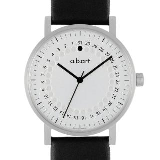 【a.b.art】O系列 經典日期圓盤跳點腕錶-銀白/40.5mm(abart-O101)
