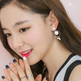 【梨花HaNA】韓國純淨約定珍珠飾球吊綴水鑽耳環