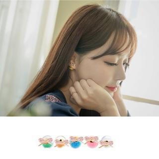 【梨花HaNA】韓國優雅相對論蝴蝶結晶珠雙面耳環