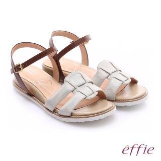 【effie】個性涼夏 絨面真皮圓楦羅馬小坡跟涼鞋(白)