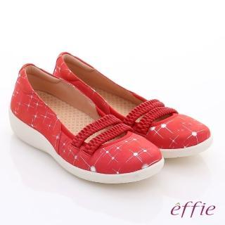 【effie】挺麗氣墊 真皮絨面鬆緊帶奈米氣墊鞋(紅)