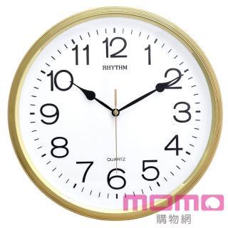 【RHYTHM日本麗聲】簡約時尚金屬色系邊框超靜音掛鐘(閃耀金)
