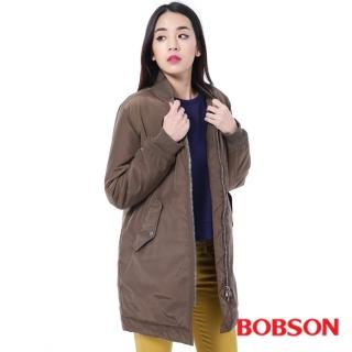【BOBSON】女款長版鋪棉棒球外套(咖啡35141-83)