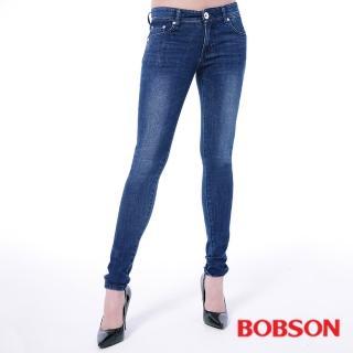【BOBSON】女款大彈力緊身牛仔褲(藍8124-53)