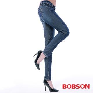 ~BOBSON~女款低腰異素材小直筒褲^(藍8138~53^)