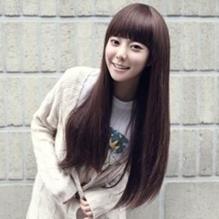 【米蘭精品】女假髮整頂假髮長假髮(齊瀏海時尚氣質逼真美髮用品穿搭配件3色69o56)