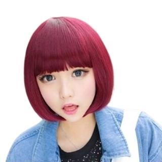 【米蘭精品】女假髮整頂假髮短假髮(時尚俏皮可愛齊瀏海美髮用品穿搭配件3色69o68)