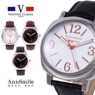 【微笑安安】范倫鐵諾 Valentino Coupeau 中性款微突面大數字防水真皮帶腕錶(4色)