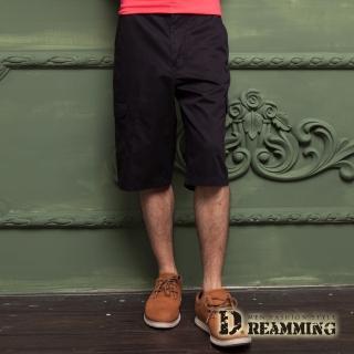 【Dreamming】原宿輕薄透氣多口袋休閒七分短褲(黑色)