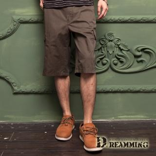 【Dreamming】原宿輕薄透氣多口袋休閒七分短褲(軍綠)