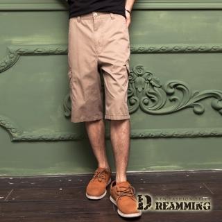 【Dreamming】原宿輕薄透氣多口袋休閒七分短褲(卡其)