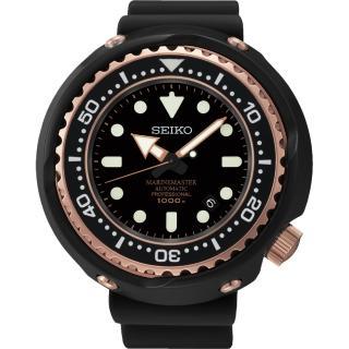 【SEIKO】精工 PROSPEX 鈦 海洋大師1000米潛水腕錶-黑x玫瑰金(8L35-00H0K  SBDX014G)
