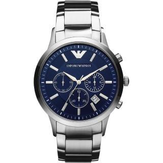 【Emporio Armani】Classic 王者時尚家三眼計時腕錶-藍x銀/43mm(AR2448)