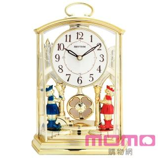 【RHYTHM日本麗聲】宮廷幸運草經典裝飾靜音座鐘(華麗彩金)
