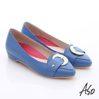 【A.S.O】職場女力 柔軟真皮皮帶飾扣低跟鞋(藍)