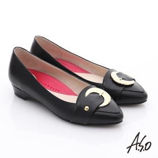 【A.S.O】職場女力 柔軟真皮皮帶飾扣低跟鞋(黑)