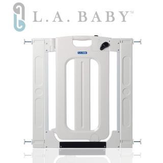 【美國 L.A. Baby】雙向自動上鎖安全門欄/圍欄/柵欄純白色(純白色/贈兩片延伸件)