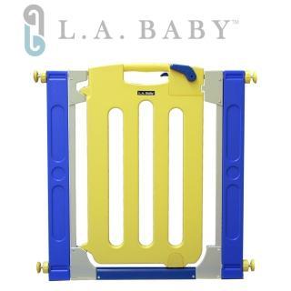 【美國 L.A. Baby】幼兒安全自動上鎖門欄/圍欄/柵欄(繽紛黃色/附贈兩片延伸件)