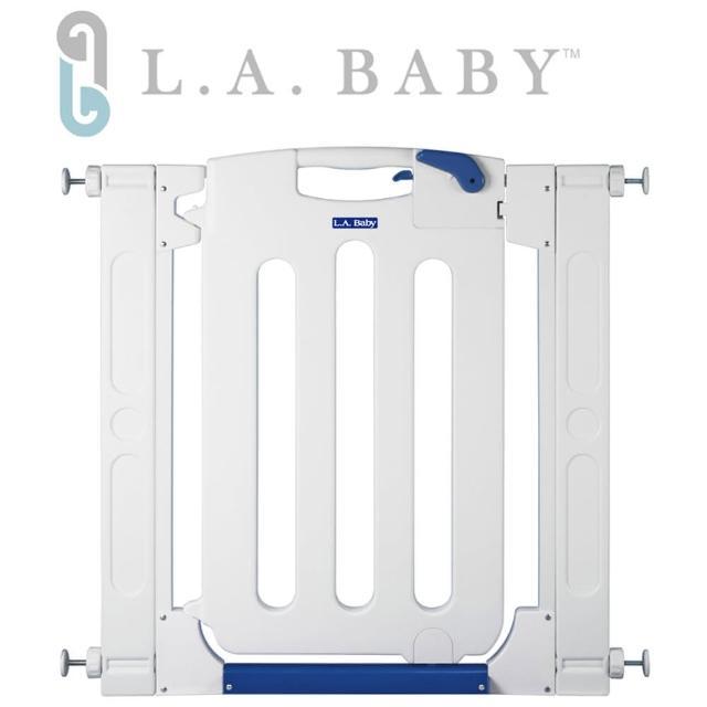 【美國 L.A. Baby】幼兒安全自動上鎖門欄-圍欄-柵欄(純淨白色-贈兩片延伸件)