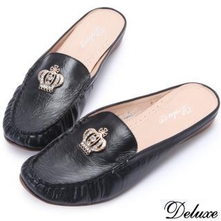 【Deluxe】全真皮水鑽皇冠百搭涼拖鞋(黑)