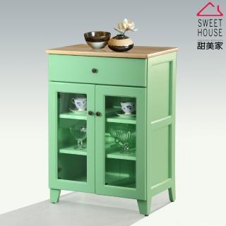 【甜美家】綠色雅致全實木2尺玻璃餐櫃展示櫃(免運費-台灣製)