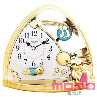 【RHYTHM日本麗聲】童話小熊家族雙擺錘裝飾靜音座鐘(小熊家族)