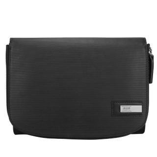 【ARMANI COLLEZIONI】簡約條紋皮革多功能手拿包(黑色)