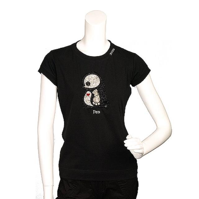 【PINKO】俏皮串珠水鑽繡縫可愛企鵝造型短袖T shirt(M-黑色11D0UT nero limousin)