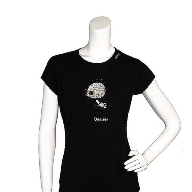 【PINKO】俏皮串珠繡縫可愛小雞造型短袖T shirt(M-黑色11D0UZ nero limousin)
