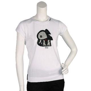 【PINKO】俏皮串珠水鑽繡縫可愛小象造型短袖T shirt(M-白色11D0US bianco brill)